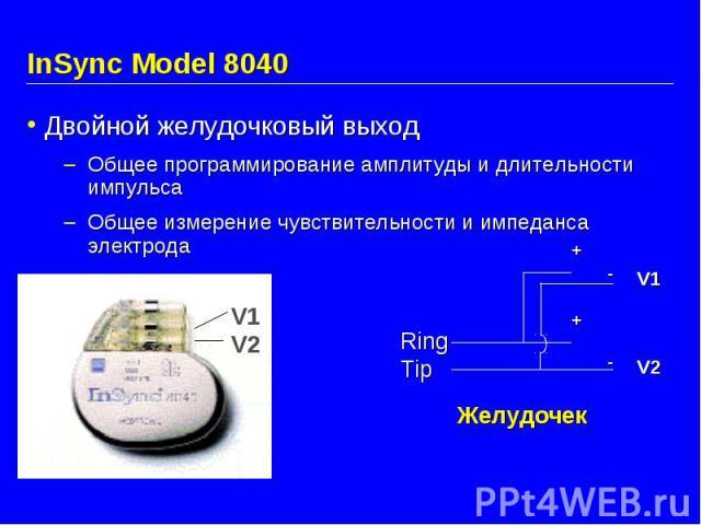 InSync Model 8040 Двойной желудочковый выход Общее программирование амплитуды и длительности импульса Общее измерение чувствительности и импеданса электрода