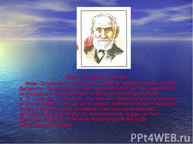 Иван Петрович Павлов Иван Петрович Павлов Иван Петрович Павлов (1849-1936) великий русский учёный-физиолог. Он прожил долгую жизнь и более 60 лет занимался научными исследованиями. Благодаря исследованиям И. П. Павлова стали известны многие тайны ра…