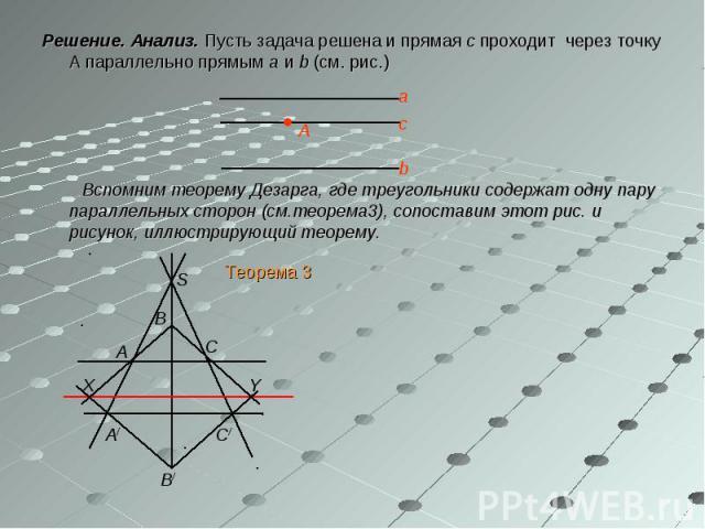 Решение. Анализ. Пусть задача решена и прямая с проходит через точку А параллельно прямым а и b (см. рис.) Решение. Анализ. Пусть задача решена и прямая с проходит через точку А параллельно прямым а и b (см. рис.) Вспомним теорему Дезарга, где треуг…