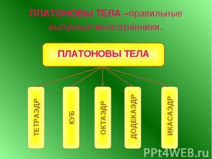 ПЛАТОНОВЫ ТЕЛА –правильные выпуклые многогранники.
