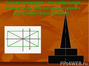 Осевая симметрия – это отображение плоскости на себя, которое сохраняет расстоян