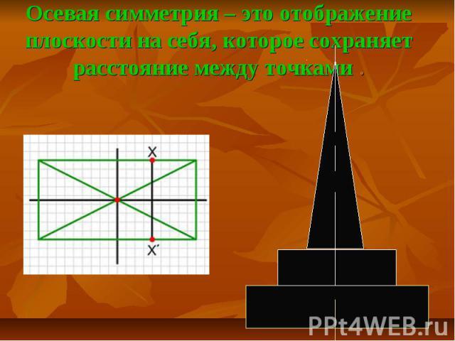 Осевая симметрия – это отображение плоскости на себя, которое сохраняет расстояние между точками .