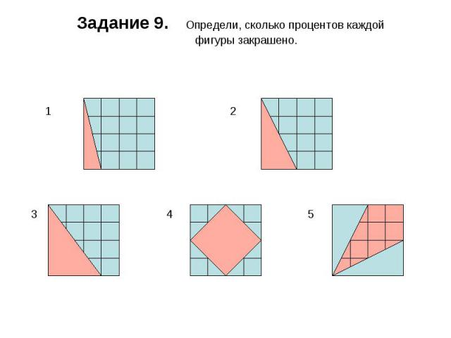 Задание 9. Определи, сколько процентов каждой фигуры закрашено.