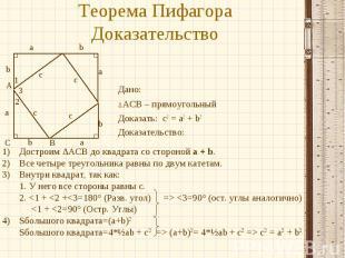 Теорема Пифагора Доказательство Дано: ∆ACB – прямоугольный Доказать: c2 = a2 + b