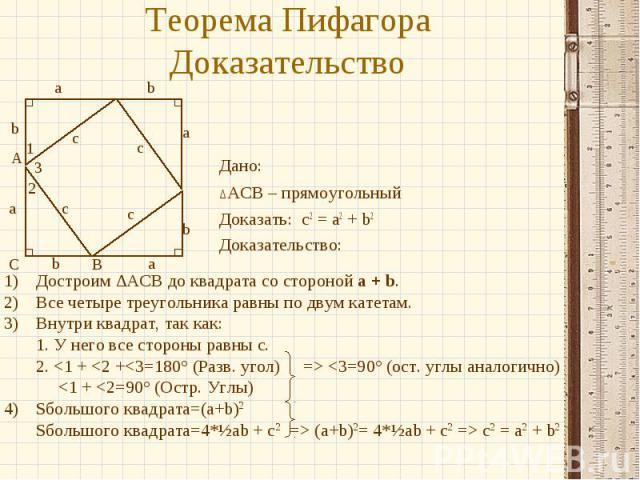 Теорема Пифагора Доказательство Дано: ∆ACB – прямоугольный Доказать: c2 = a2 + b2 Доказательство: