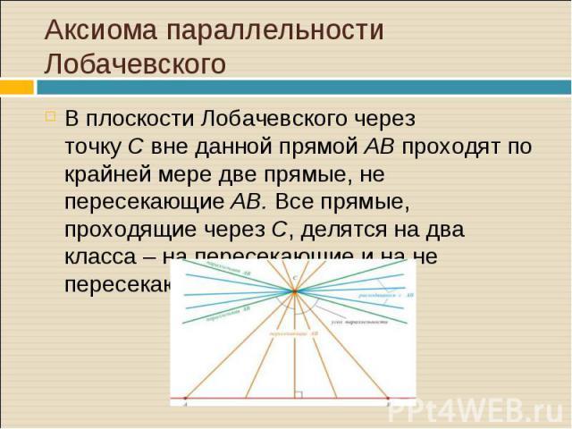 В плоскости Лобачевского через точкуCвне данной прямойABпроходят по крайней мере две прямые, не пересекающиеAB. Все прямые, проходящие черезC, делятся на два класса – на пересекающие и на не пересекающиеAB. …