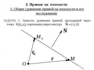 § Прямая на плоскости 1. Общее уравнение прямой на плоскости и его исследование
