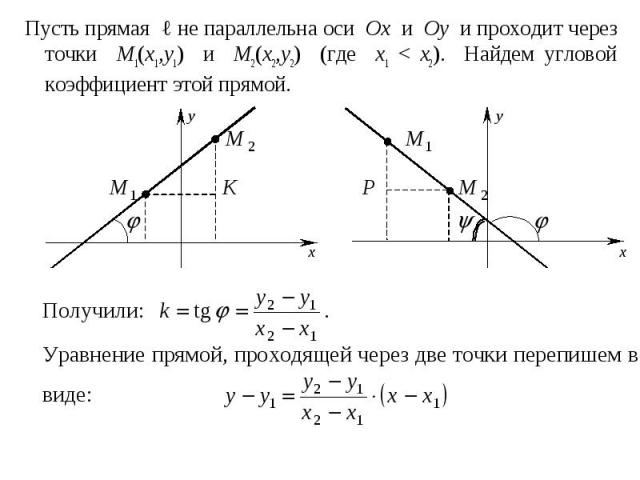 Пусть прямая ℓ не параллельна оси Ox и Oy и проходит через точки M1(x1,y1) и M2(x2,y2) (где x1 < x2). Найдем угловой коэффициент этой прямой. Пусть прямая ℓ не параллельна оси Ox и Oy и проходит через точки M1(x1,y1) и M2(x2,y2) (где x1 < x2).…
