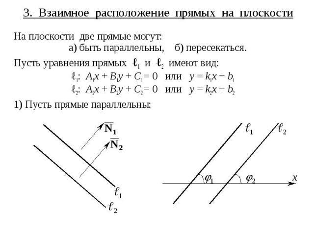 3. Взаимное расположение прямых на плоскости На плоскости две прямые могут: а) быть параллельны, б) пересекаться. Пусть уравнения прямых ℓ1 и ℓ2 имеют вид: ℓ1: A1x + B1y + C1 = 0 или y = k1x + b1 ℓ2: A2x + B2y + C2 = 0 или y = k2x + b2 1) Пусть прям…