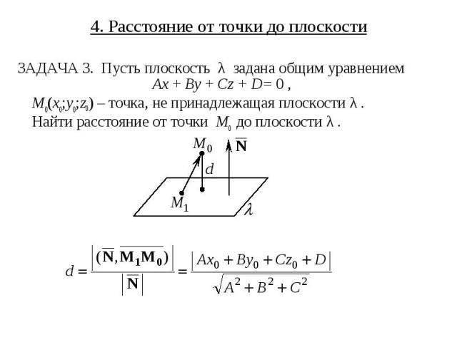 4. Расстояние от точки до плоскости ЗАДАЧА 3. Пусть плоскость λ задана общим уравнением Ax + By + Cz + D = 0 , M0(x0;y0;z0) – точка, не принадлежащая плоскости λ . Найти расстояние от точки M0 до плоскости λ .