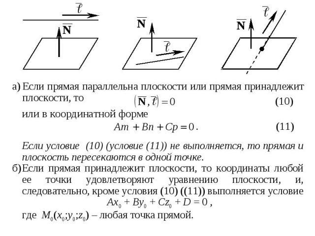 а) Если прямая параллельна плоскости или прямая принадлежит плоскости, то а) Если прямая параллельна плоскости или прямая принадлежит плоскости, то
