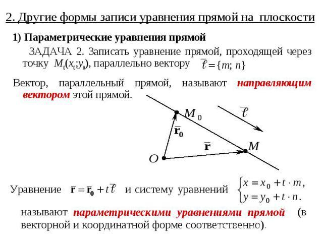 2. Другие формы записи уравнения прямой на плоскости 1) Параметрические уравнения прямой ЗАДАЧА 2. Записать уравнение прямой, проходящей через точку M0(x0;y0), параллельно вектору