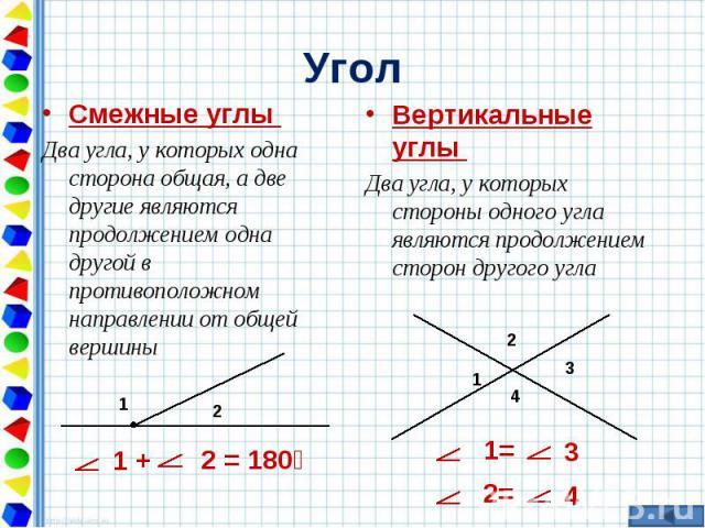 Смежные углы Смежные углы Два угла, у которых одна сторона общая, а две другие являются продолжением одна другой в противоположном направлении от общей вершины