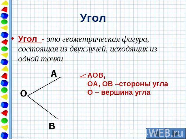 Угол - это геометрическая фигура, состоящая из двух лучей, исходящих из одной точки Угол - это геометрическая фигура, состоящая из двух лучей, исходящих из одной точки