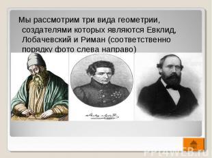 Мы рассмотрим три вида геометрии, создателями которых являются Евклид, Лобачевск