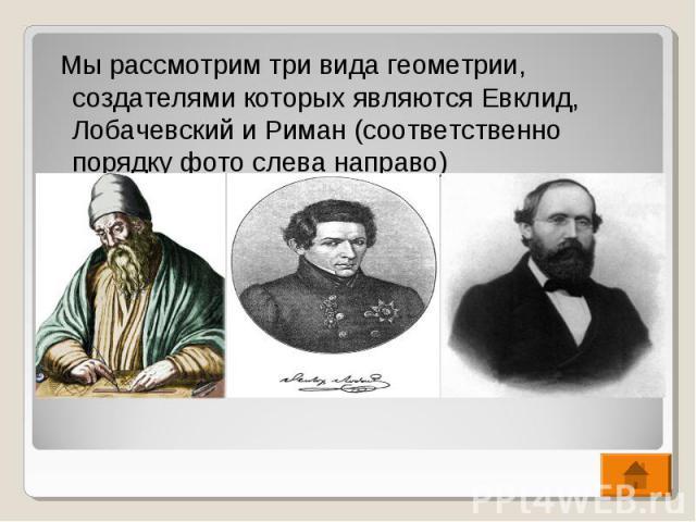 Мы рассмотрим три вида геометрии, создателями которых являются Евклид, Лобачевский и Риман (соответственно порядку фото слева направо) Мы рассмотрим три вида геометрии, создателями которых являются Евклид, Лобачевский и Риман (соответственно порядку…