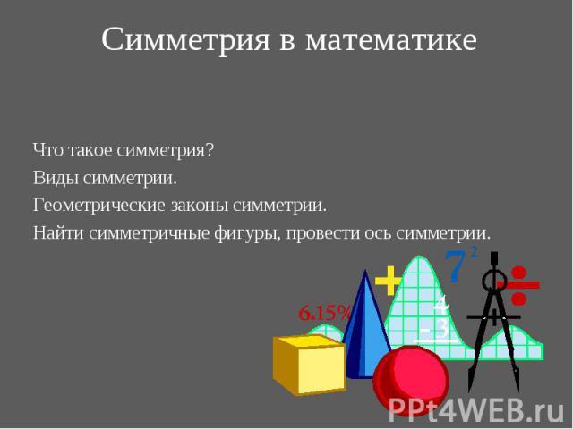 Что такое симметрия? Что такое симметрия? Виды симметрии. Геометрические законы симметрии. Найти симметричные фигуры, провести ось симметрии.