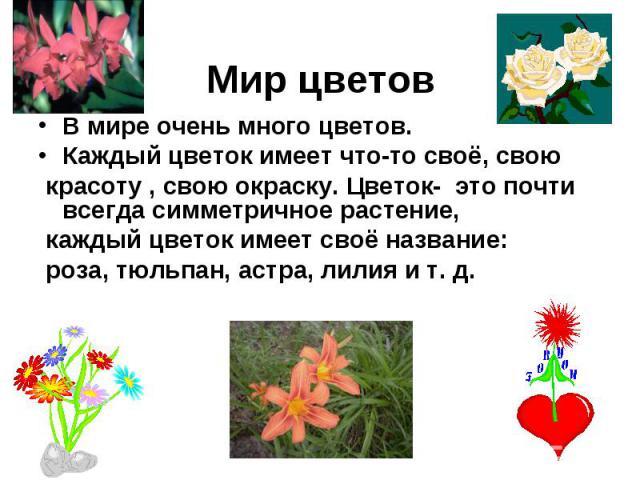 Мир цветов В мире очень много цветов. Каждый цветок имеет что-то своё, свою красоту , свою окраску. Цветок- это почти всегда симметричное растение, каждый цветок имеет своё название: роза, тюльпан, астра, лилия и т. д.