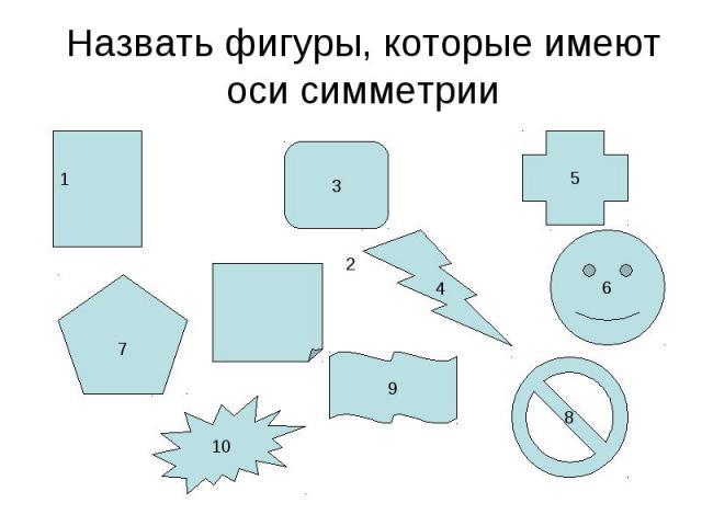 Назвать фигуры, которые имеют оси симметрии