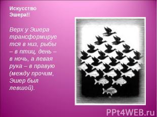 Верх у Эшера трансформируется в низ, рыбы – в птиц, день – в ночь, а левая рука