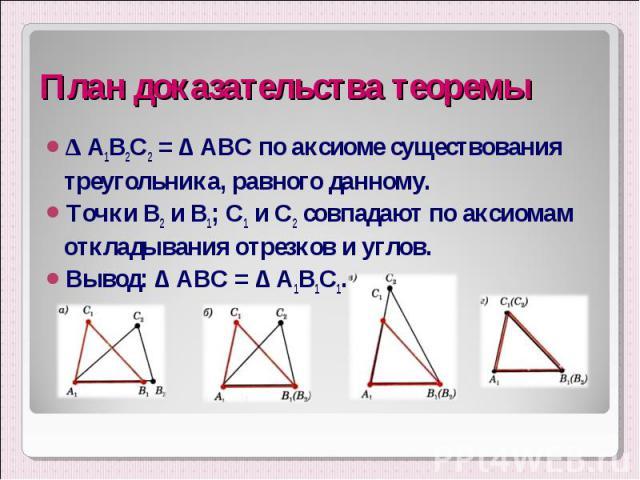 ∆ А1В2С2 = ∆ АВС по аксиоме существования треугольника, равного данному. ∆ А1В2С2 = ∆ АВС по аксиоме существования треугольника, равного данному. Точки В2 и В1; С1 и С2 совпадают по аксиомам откладывания отрезков и углов. Вывод: ∆ АВС = ∆ А1В1С1.