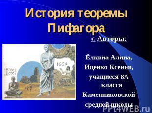 История теоремы Пифагора © Авторы: Ёлкина Алина, Иценко Ксения, учащиеся 8А клас