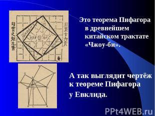 Это теорема Пифагора в древнейшем китайском трактате «Чжоу-би». Это теорема Пифа