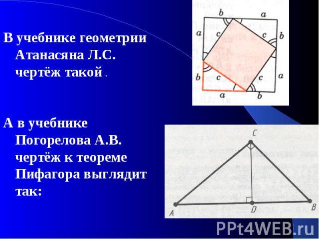В учебнике геометрии Атанасяна Л.С. чертёж такой . В учебнике геометрии Атанасяна Л.С. чертёж такой . А в учебнике Погорелова А.В. чертёж к теореме Пифагора выглядит так: