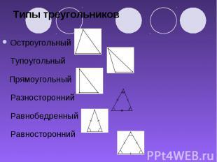 Типы треугольников Остроугольный Тупоугольный Прямоугольный Разносторонний Равно