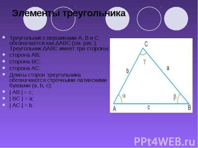 Элементы треугольника Треугольник с вершинами A, B и C обозначается как ΔABC (см. рис.). Треугольник ΔABC имеет три стороны: сторона AB; сторона BC; сторона AC. Длины сторон треугольника обозначаются строчными латинскими буквами (a, b, c): | AB | = …