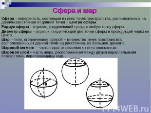 Сфера и шар Сфера – поверхность, состоящая из всех точек пространства, расположе