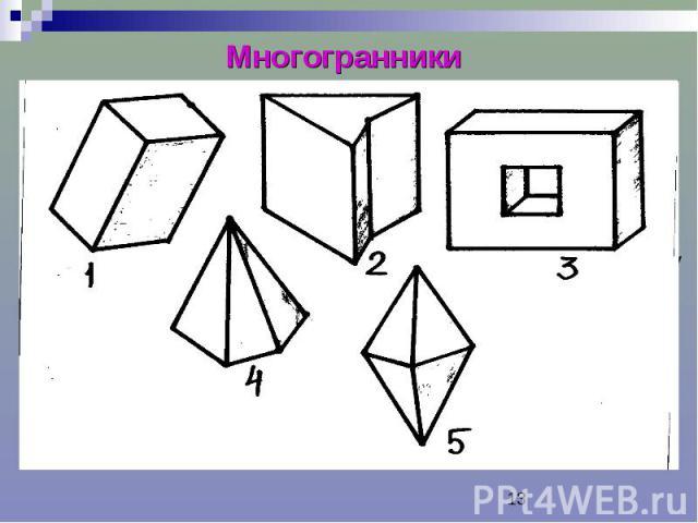 Многогранники Многогранник – тело, поверхность которого состоит из конечного числа плоских многоугольников. Грани многогранника – плоские многоугольники, образующие его поверхность. Ребра – стороны граней. Вершины многогранников – вершины граней. Ди…