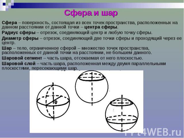 Сфера и шар Сфера – поверхность, состоящая из всех точек пространства, расположенных на данном расстоянии от данной точки – центра сферы. Радиус сферы – отрезок, соединяющий центр и любую точку сферы. Диаметр сферы – отрезок, соединяющий две точки с…