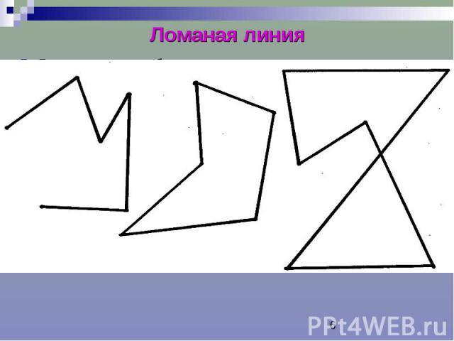 Ломаная линия Ломаная линия – объединение отрезков, в котором конец каждого отрезка является началом следующего отрезка, и отрезки, имеющие общий конец, не лежат на одной прямой. Отрезки, составляющие ломаную – звенья ломаной. Точки соединения концо…
