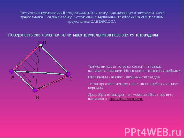 Рассмотрим произвольный треугольник АВС и точку D,не лежащую в плоскости этого треугольника. Соединим точку D отрезками с вершинами треугольника ABC,получим треугольники DAB,DBC,DCA. Поверхность составленная из четырех треугольников называется тетраэдром.