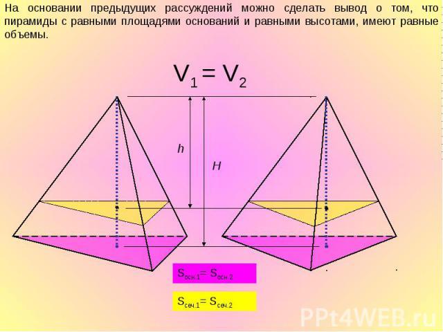 На основании предыдущих рассуждений можно сделать вывод о том, что пирамиды с равными площадями оснований и равными высотами, имеют равные объемы.