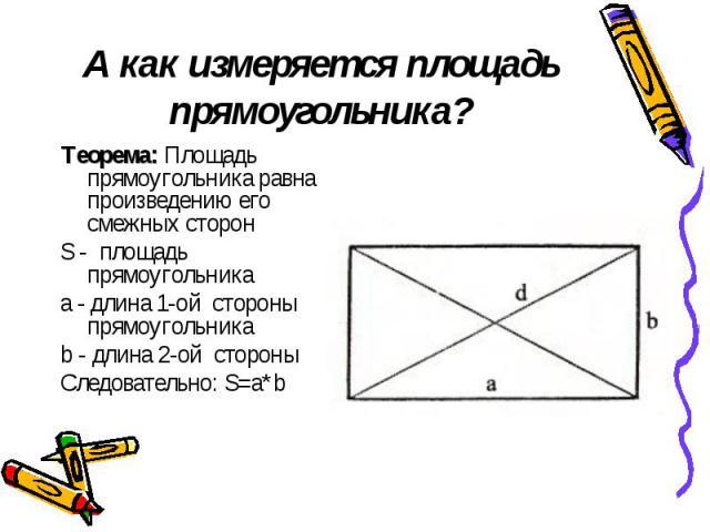 А как измеряется площадь прямоугольника? Теорема: Площадь прямоугольника равна произведению его смежных сторон S - площадь прямоугольника a - длина 1-ой стороны прямоугольника b - длина 2-ой стороны Следовательно: S=a*b