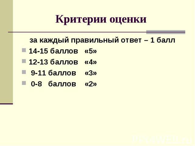 Критерии оценки за каждый правильный ответ – 1 балл 14-15 баллов «5» 12-13 баллов «4» 9-11 баллов «3» 0-8 баллов «2»