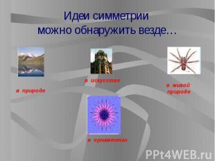 Идеи симметрии можно обнаружить везде…