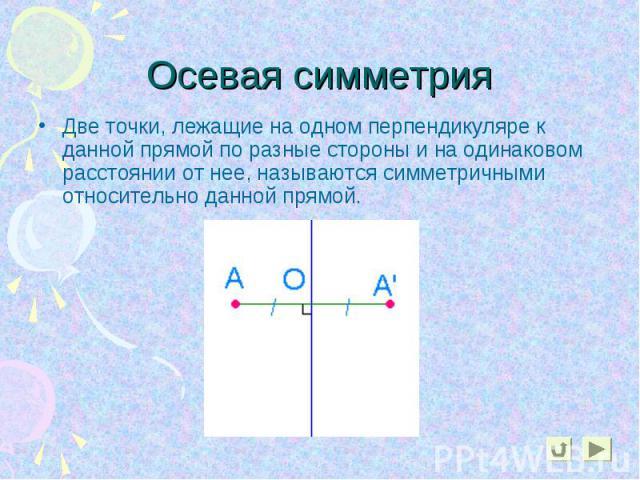 Две точки, лежащие на одном перпендикуляре к данной прямой по разные стороны и на одинаковом расстоянии от нее, называются симметричными относительно данной прямой. Две точки, лежащие на одном перпендикуляре к данной прямой по разные стороны и на од…