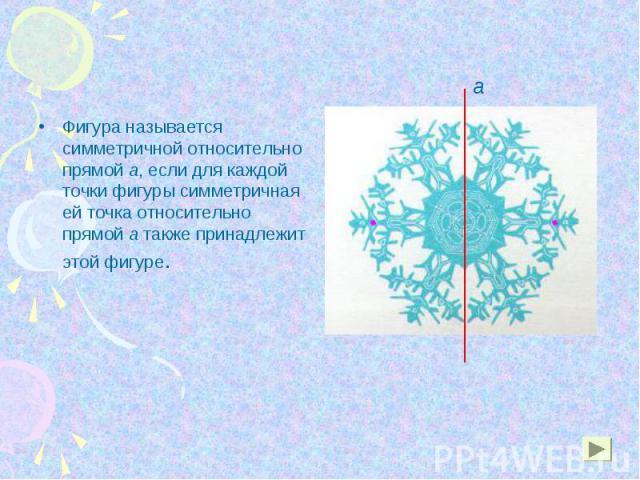 Фигура называется симметричной относительно прямой a, если для каждой точки фигуры симметричная ей точка относительно прямой а также принадлежит этой фигуре. Фигура называется симметричной относительно прямой a, если для каждой точки фигуры симметри…