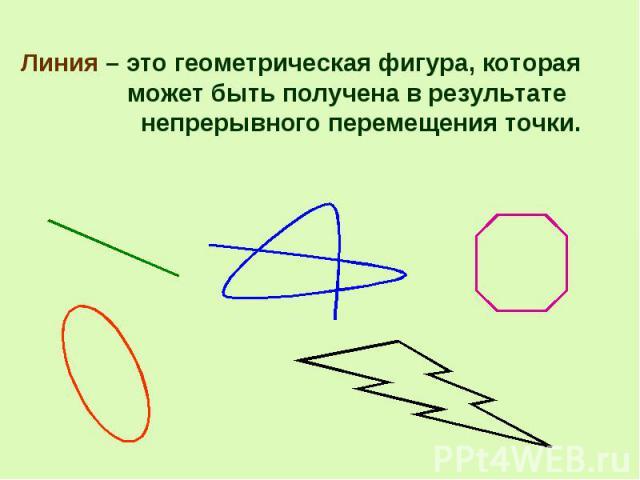 Линия – это геометрическая фигура, которая может быть получена в результате непрерывного перемещения точки. Линия – это геометрическая фигура, которая может быть получена в результате непрерывного перемещения точки.