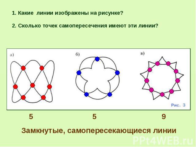 2. Сколько точек самопересечения имеют эти линии? 2. Сколько точек самопересечения имеют эти линии?
