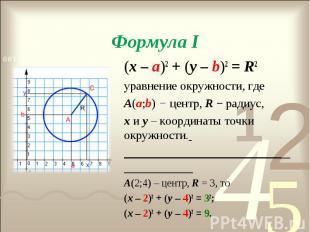 (х – а)2 + (у – b)2 = R2 (х – а)2 + (у – b)2 = R2 уравнение окружности, где А(а;