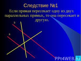 Если прямая пересекает одну из двух параллельных прямых, то она пересекает и дру