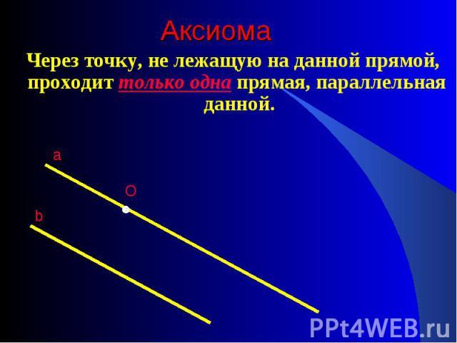 Через точку, не лежащую на данной прямой, проходит только одна прямая, параллельная данной. Через точку, не лежащую на данной прямой, проходит только одна прямая, параллельная данной.