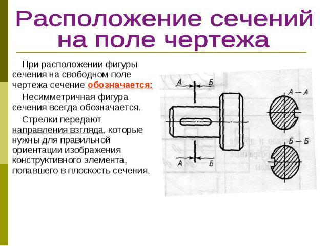 При расположении фигуры сечения на свободном поле чертежа сечение обозначается: При расположении фигуры сечения на свободном поле чертежа сечение обозначается: Несимметричная фигура сечения всегда обозначается. Стрелки передают направления взгляда, …