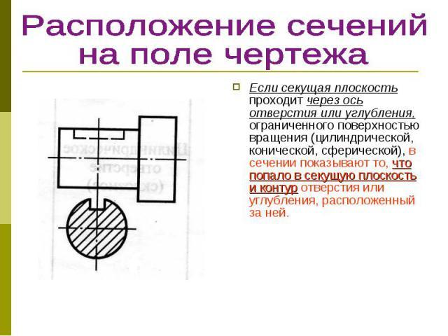 Если секущая плоскость проходит через ось отверстия или углубления, ограниченного поверхностью вращения (цилиндрической, конической, сферической), в сечении показывают то, что попало в секущую плоскость и контур отверстия или углубления, расположенн…