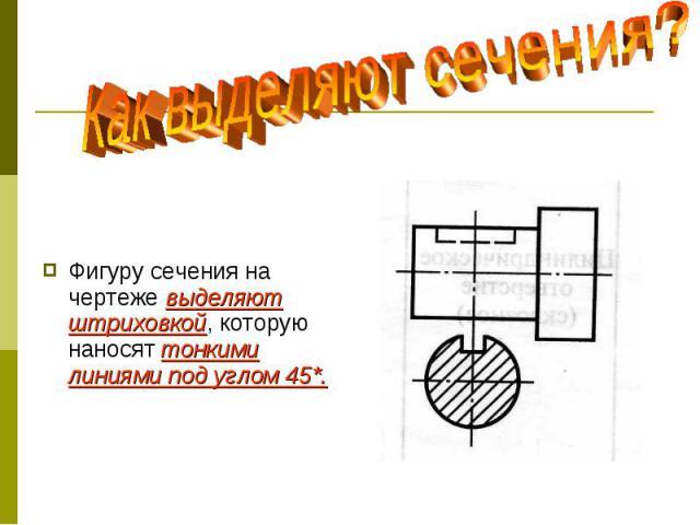 Фигуру сечения на чертеже выделяют штриховкой, которую наносят тонкими линиями под углом 45*.