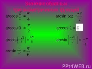 Значение обратных тригонометрических функций arccos = arcsin (-1) = arccos 0 = a